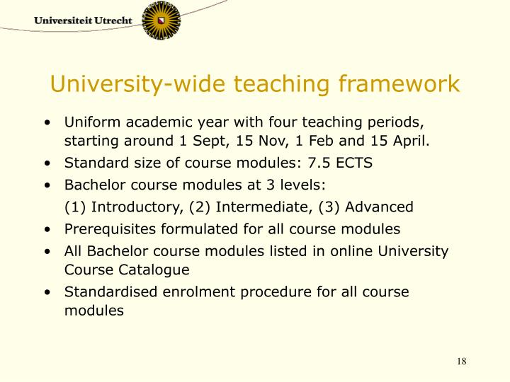 University-wide teaching framework