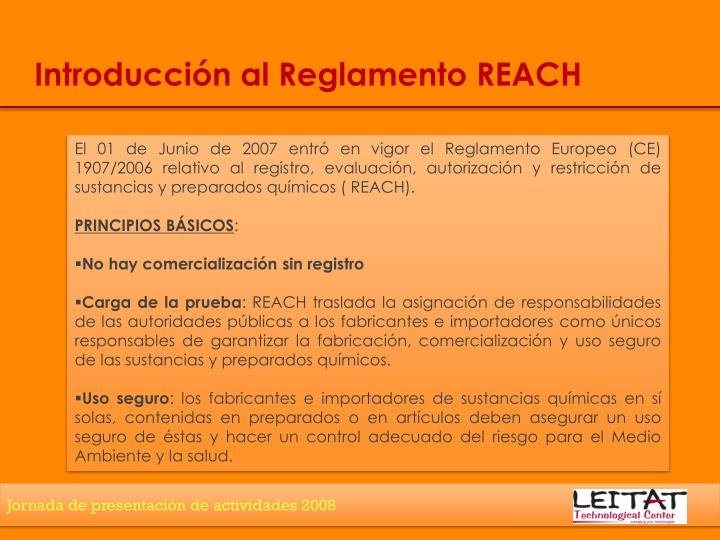 Introducción al Reglamento REACH