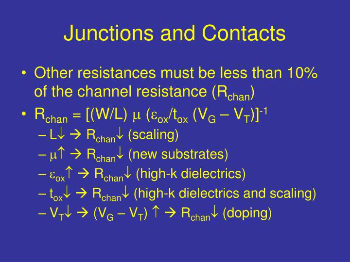 Junctions and Contacts