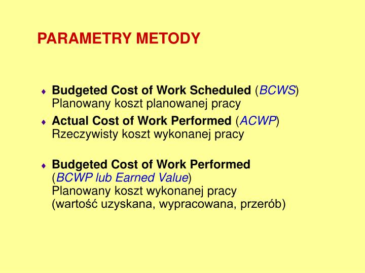 PARAMETRY METODY