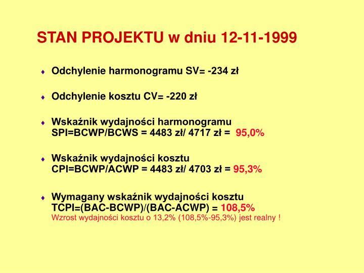 STAN PROJEKTU w dniu 12-11-1999