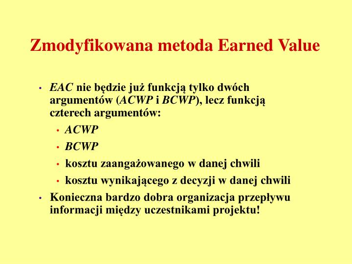Zmodyfikowana metoda Earned Value