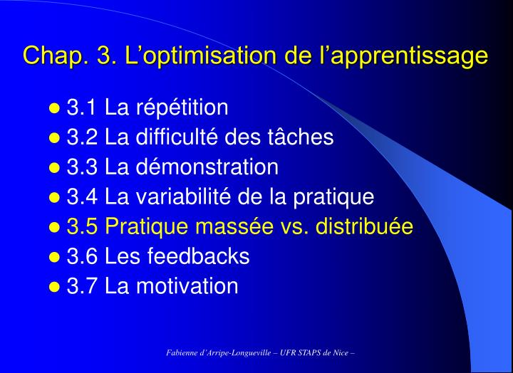 Chap 3 l optimisation de l apprentissage