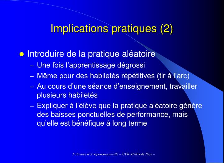 Implications pratiques (2)