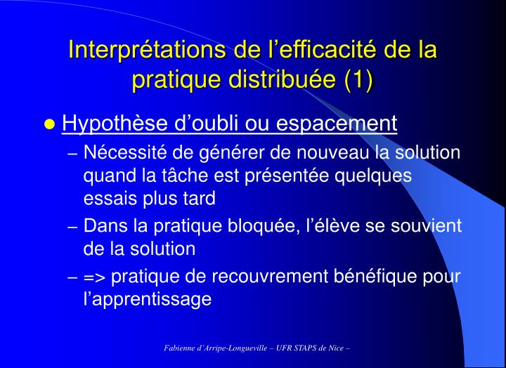 Interprétations de l'efficacité de la pratique distribuée (1)