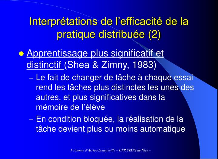 Interprétations de l'efficacité de la pratique distribuée (2)
