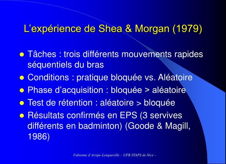 L'expérience de Shea & Morgan (1979)