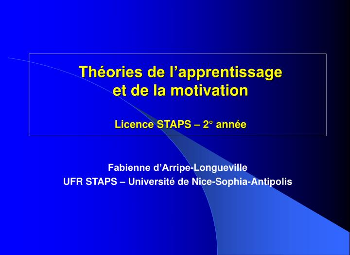 Th ories de l apprentissage et de la motivation licence staps 2 ann e