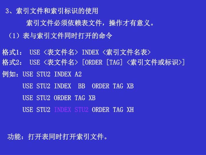 3、索引文件和索引标识的使用