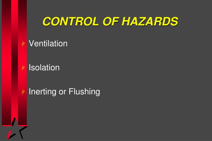 CONTROL OF HAZARDS