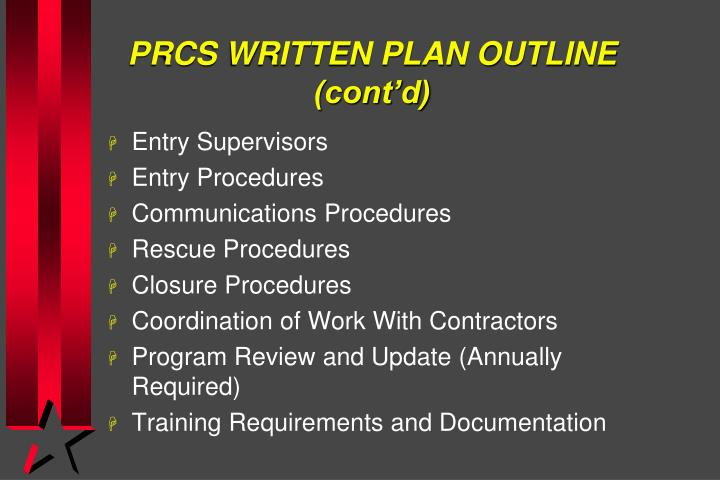 PRCS WRITTEN PLAN OUTLINE