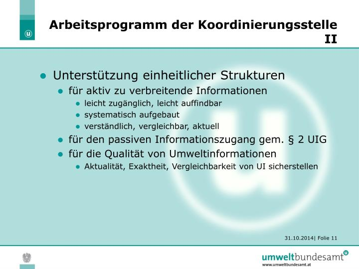 Arbeitsprogramm der Koordinierungsstelle II