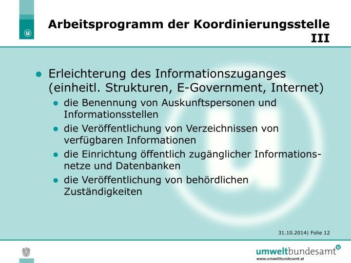 Arbeitsprogramm der Koordinierungsstelle III