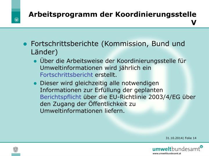 Arbeitsprogramm der Koordinierungsstelle V