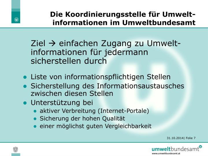 Die Koordinierungsstelle für Umwelt-informationen im Umweltbundesamt
