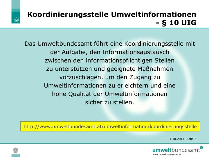 Koordinierungsstelle Umweltinformationen - § 10 UIG