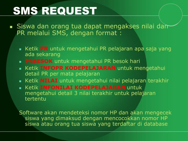 SMS REQUEST