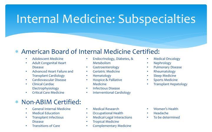 Internal Medicine: Subspecialties