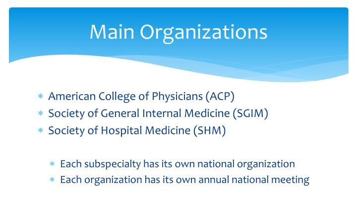 Main Organizations