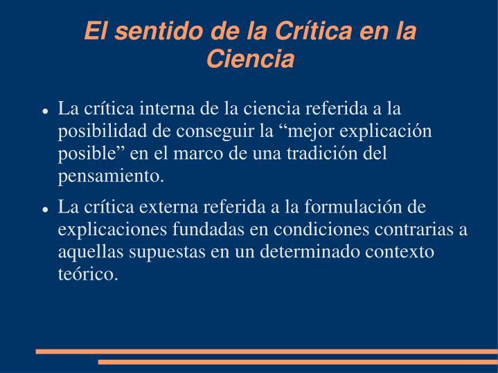 El sentido de la Crítica en la Ciencia