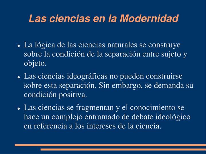 Las ciencias en la Modernidad