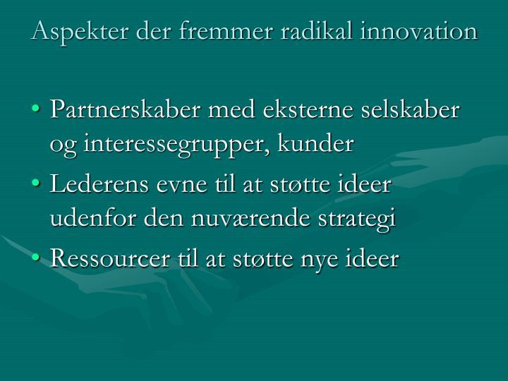 Aspekter der fremmer radikal innovation