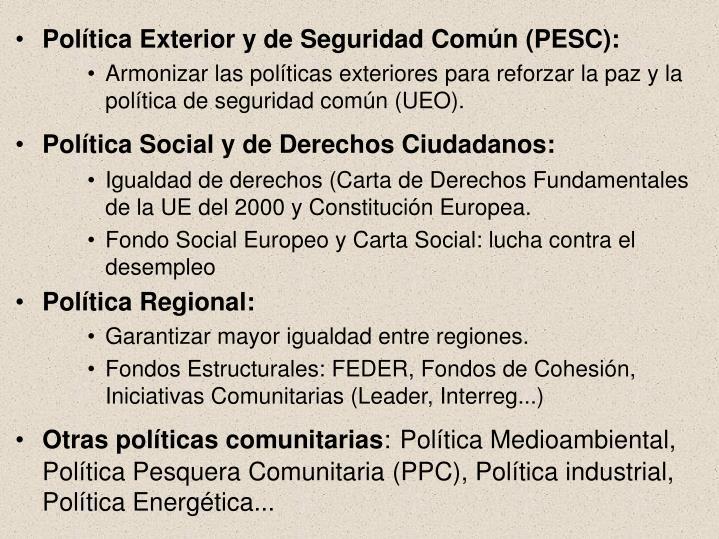 Política Exterior y de Seguridad Común (PESC):