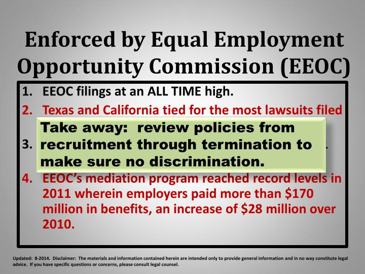 Enforced by Equal Employment Opportunity Commission (EEOC)