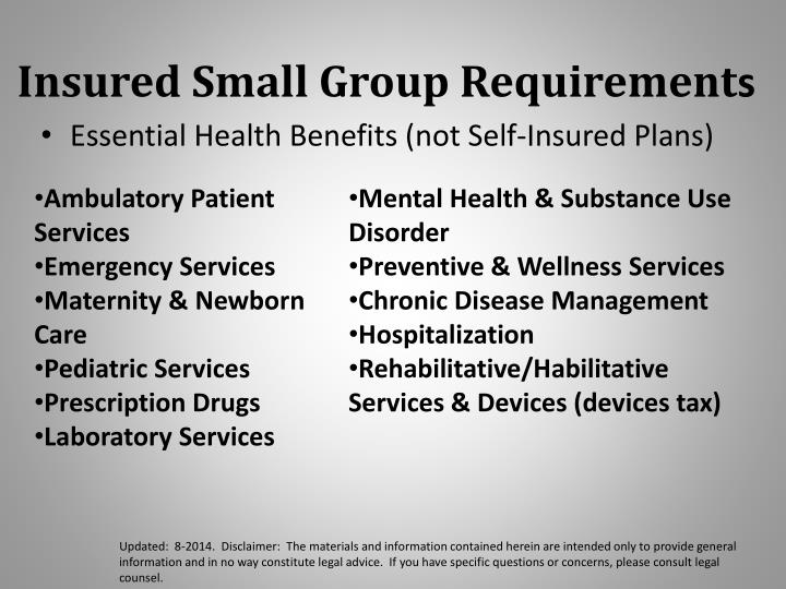 Insured Small Group Requirement
