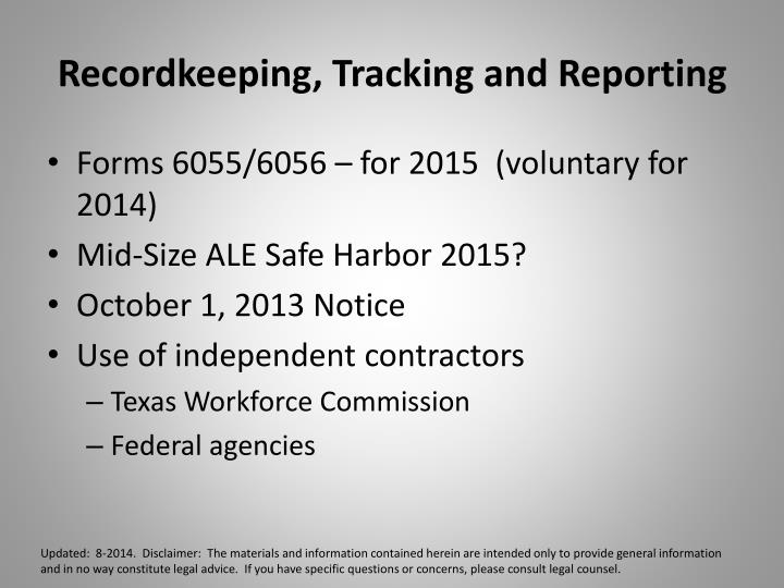 Recordkeeping, Tracking and Reporting