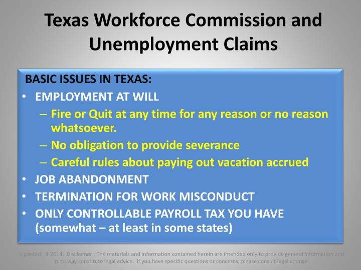 Texas Workforce Commission and Unemployment Claims