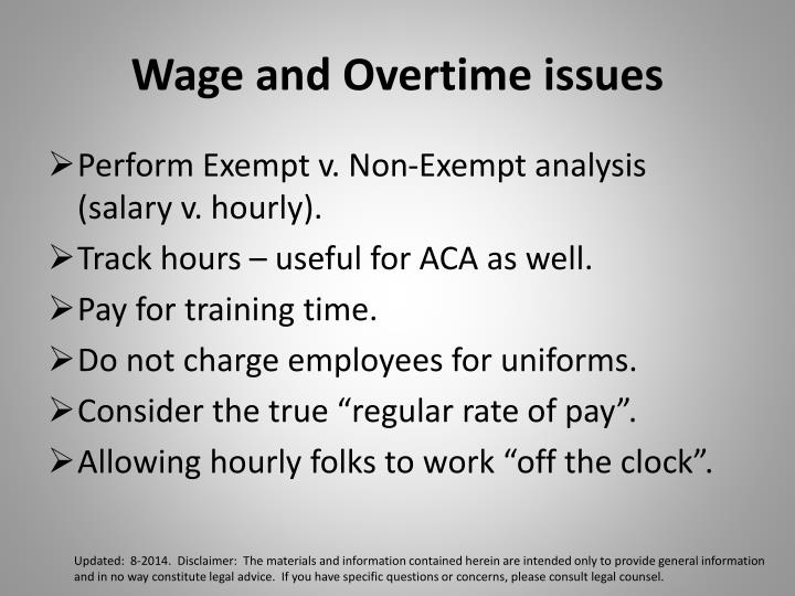 Wage and Overtime issues