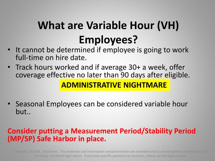 What are Variable Hour (VH) Employees?