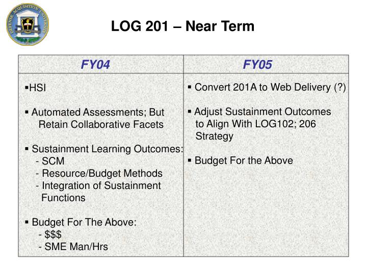 LOG 201 – Near Term