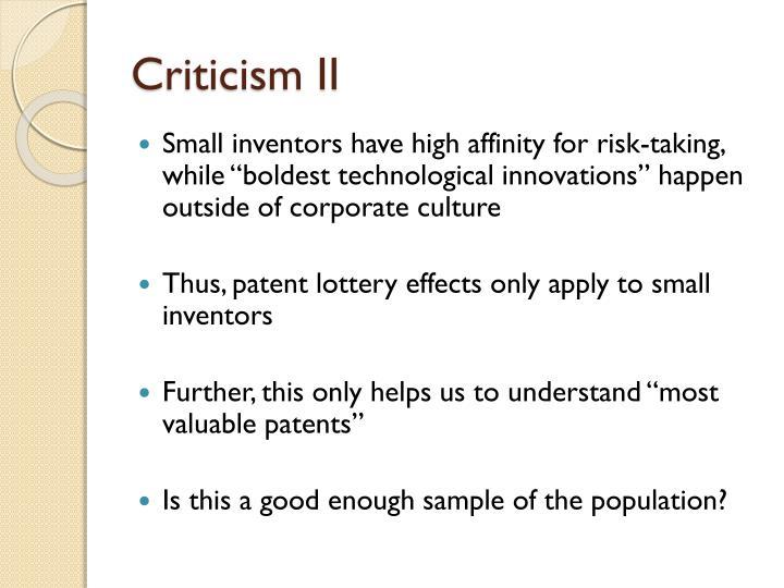 Criticism II