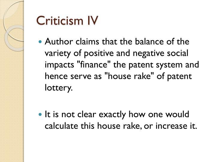 Criticism IV
