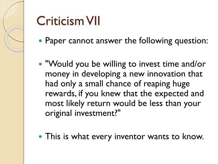 Criticism VII