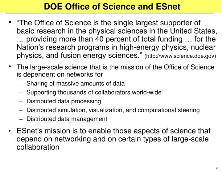 Doe office of science and esnet