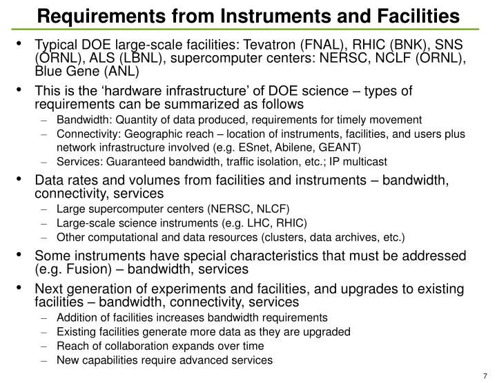 Requirements from Instruments and Facilities