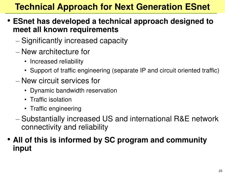 Technical Approach for Next Generation ESnet