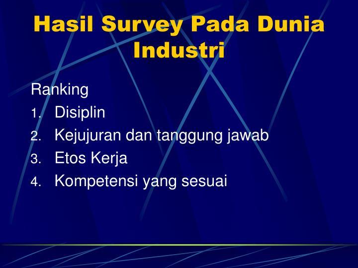 Hasil Survey Pada Dunia Industri