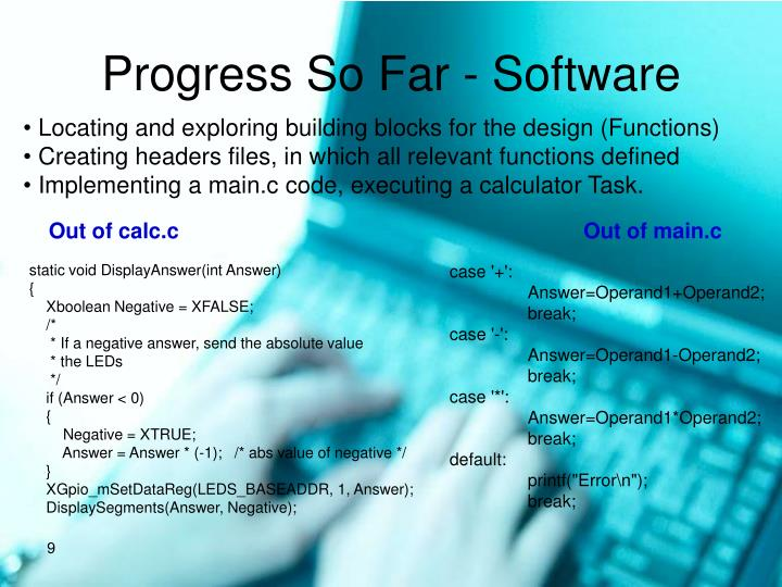Progress So Far - Software