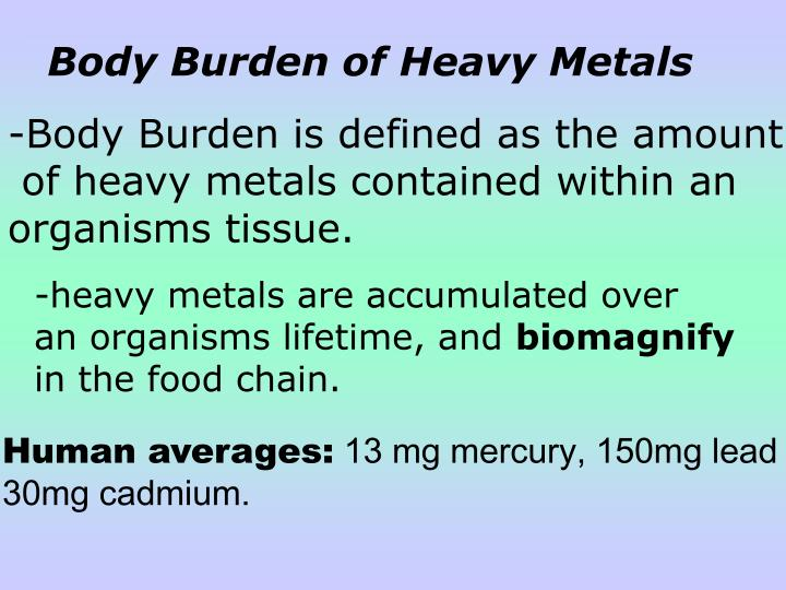 Body Burden of Heavy Metals