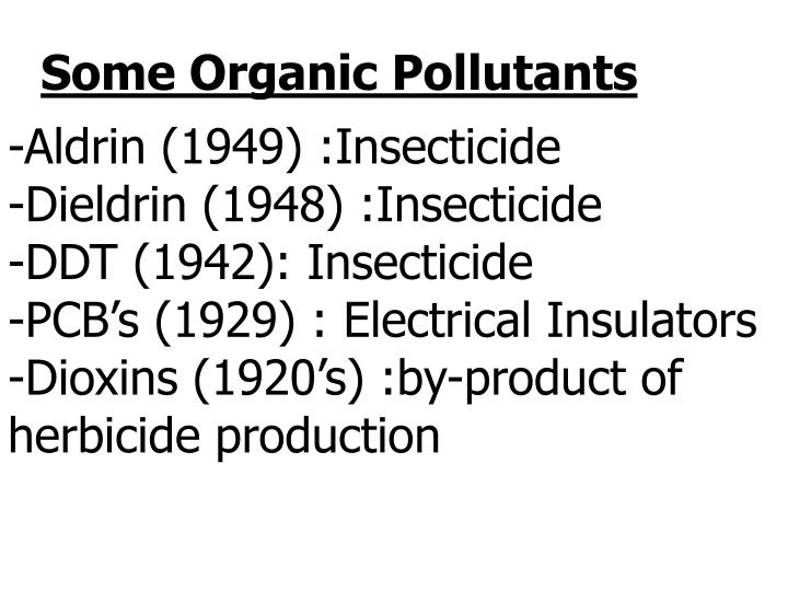 Some Organic Pollutants