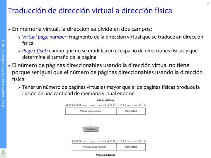Traducción de dirección virtual a dirección física