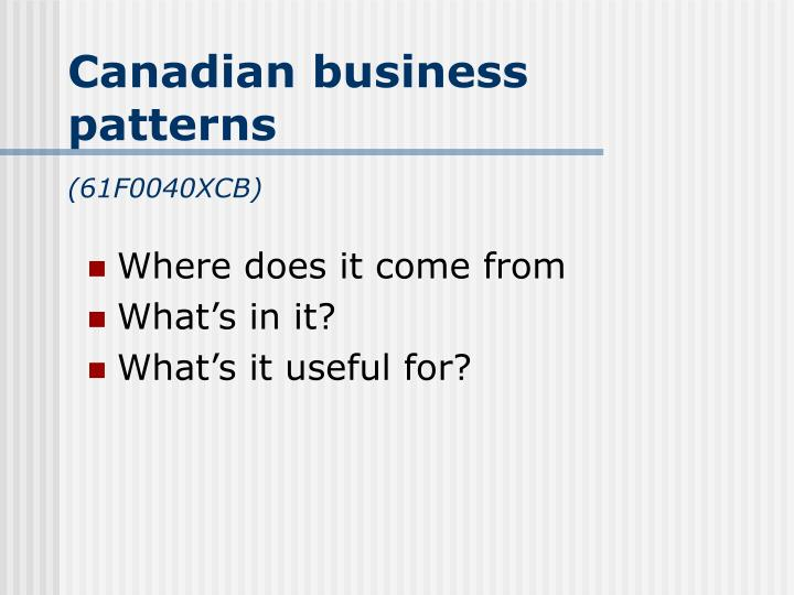 Canadian business patterns 61f0040xcb