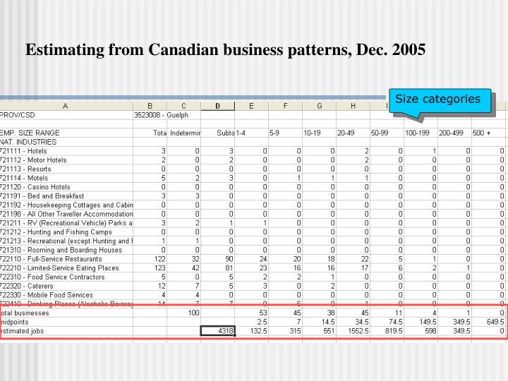 Estimating from Canadian business patterns, Dec. 2005
