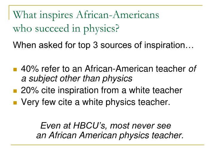 What inspires African-Americans