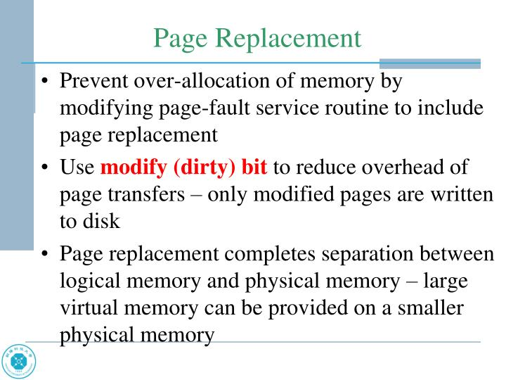 Prevent over-allocation of memory by modifying page-fault service routine to include page replacement
