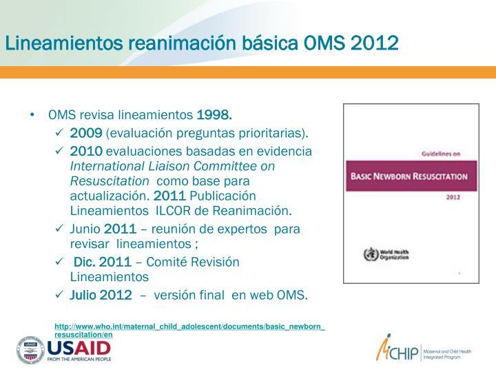Lineamientos reanimación básica OMS 2012